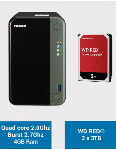 QNAP TS-253D 4GB Serveur NAS WD RED 6To (2x3To)