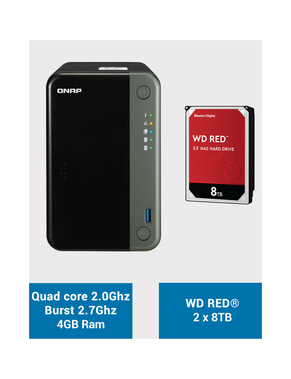 QNAP TS-253D 4GB Serveur NAS WD RED 16To (2x8To)