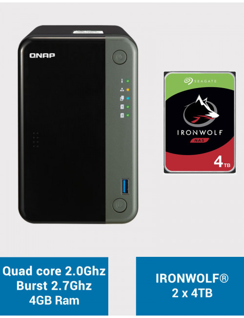 QNAP TS-253D 4GB Serveur NAS IRONWOLF 8To (2x4To)