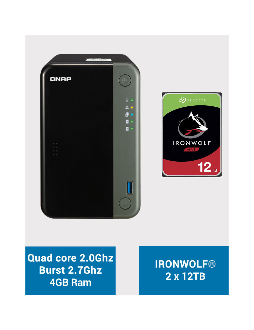QNAP TS-253D 4GB Serveur NAS IRONWOLF 24To (2x12To)