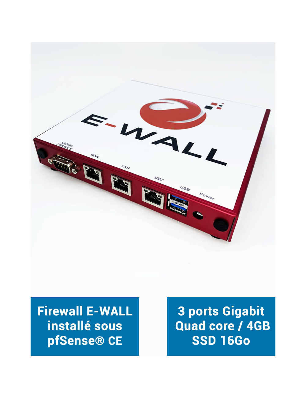 Firewall E-WALL AP234 under pfSense® CE 3 ports 4GB SSD 16GB