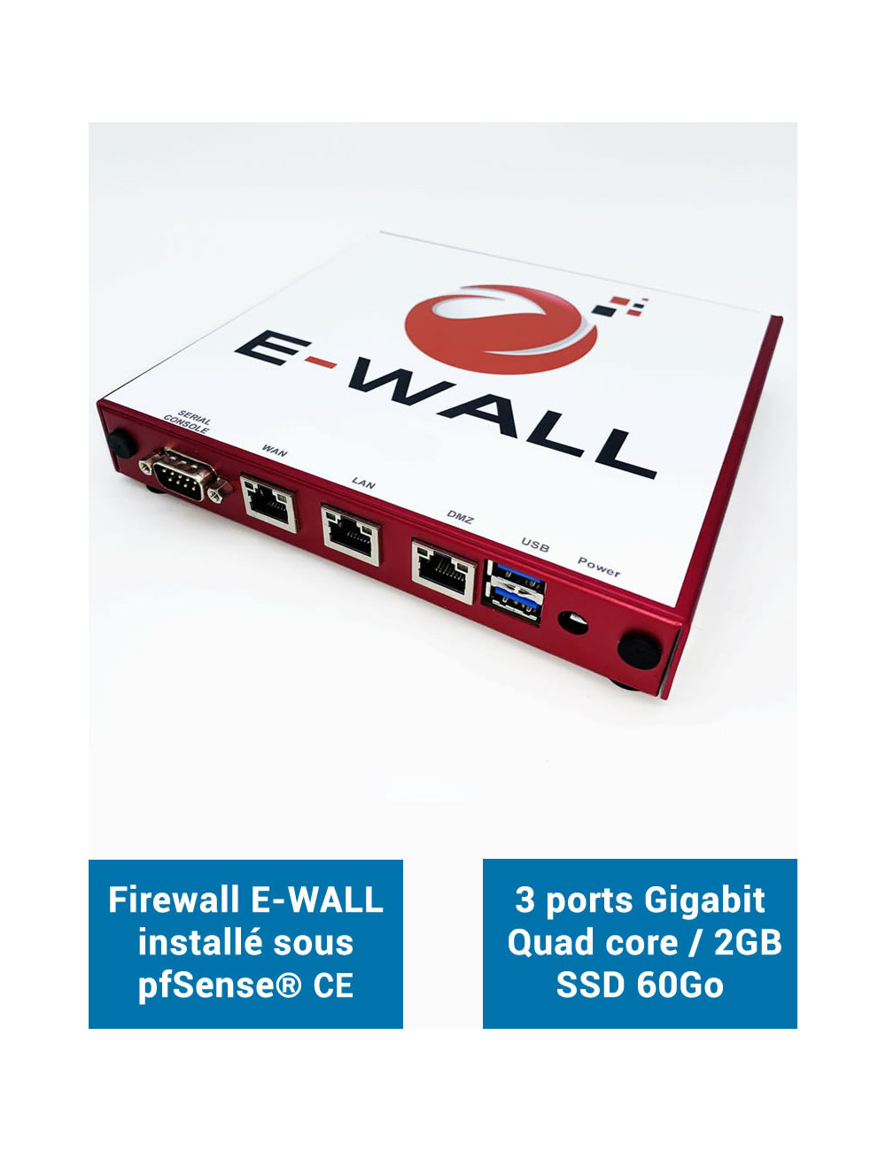 Firewall E-WALL AP232 under pfSense® CE 3 ports 2GB SSD 60GB