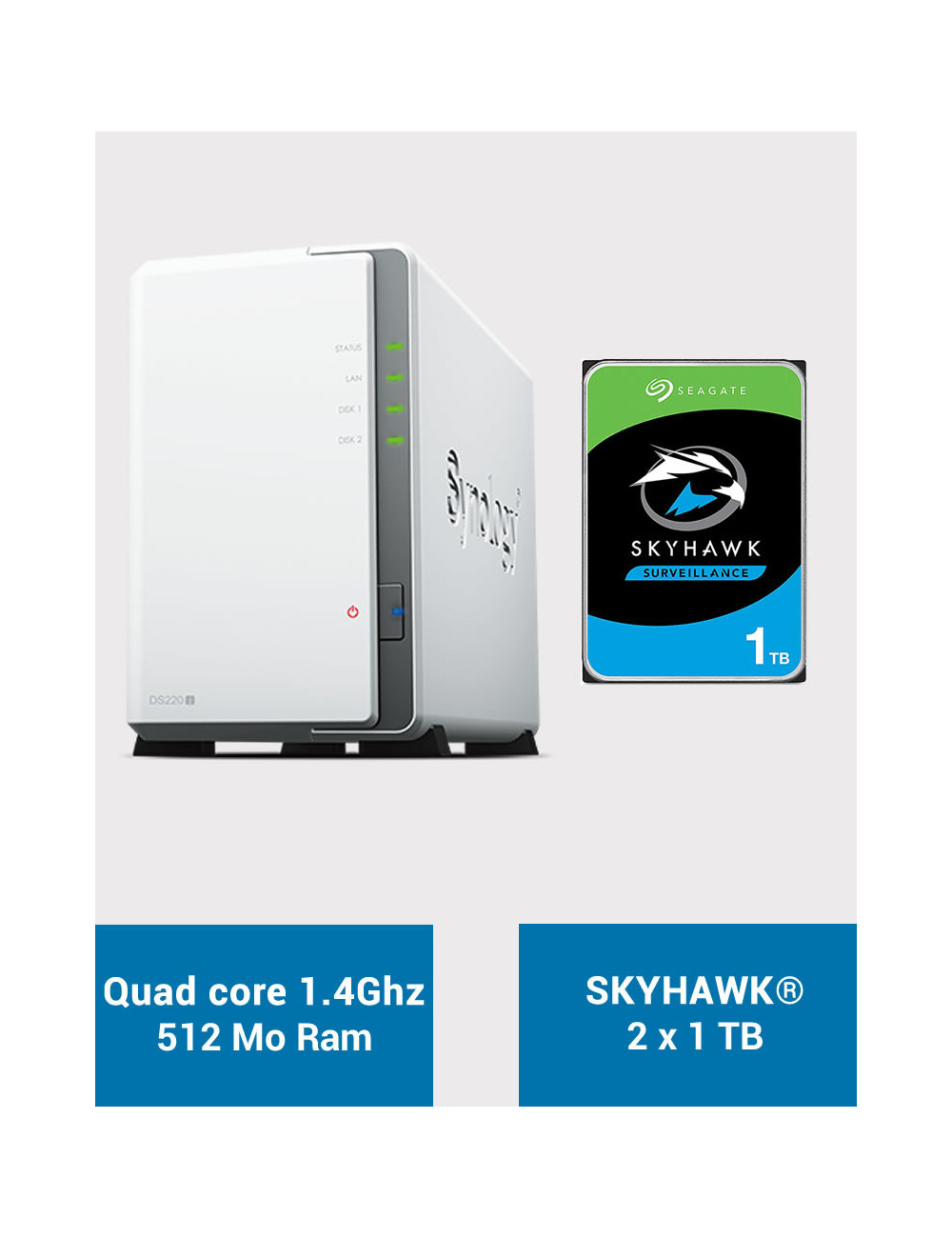 Synology DS220J Serveur NAS SKYHAWK 2To (2x1To)
