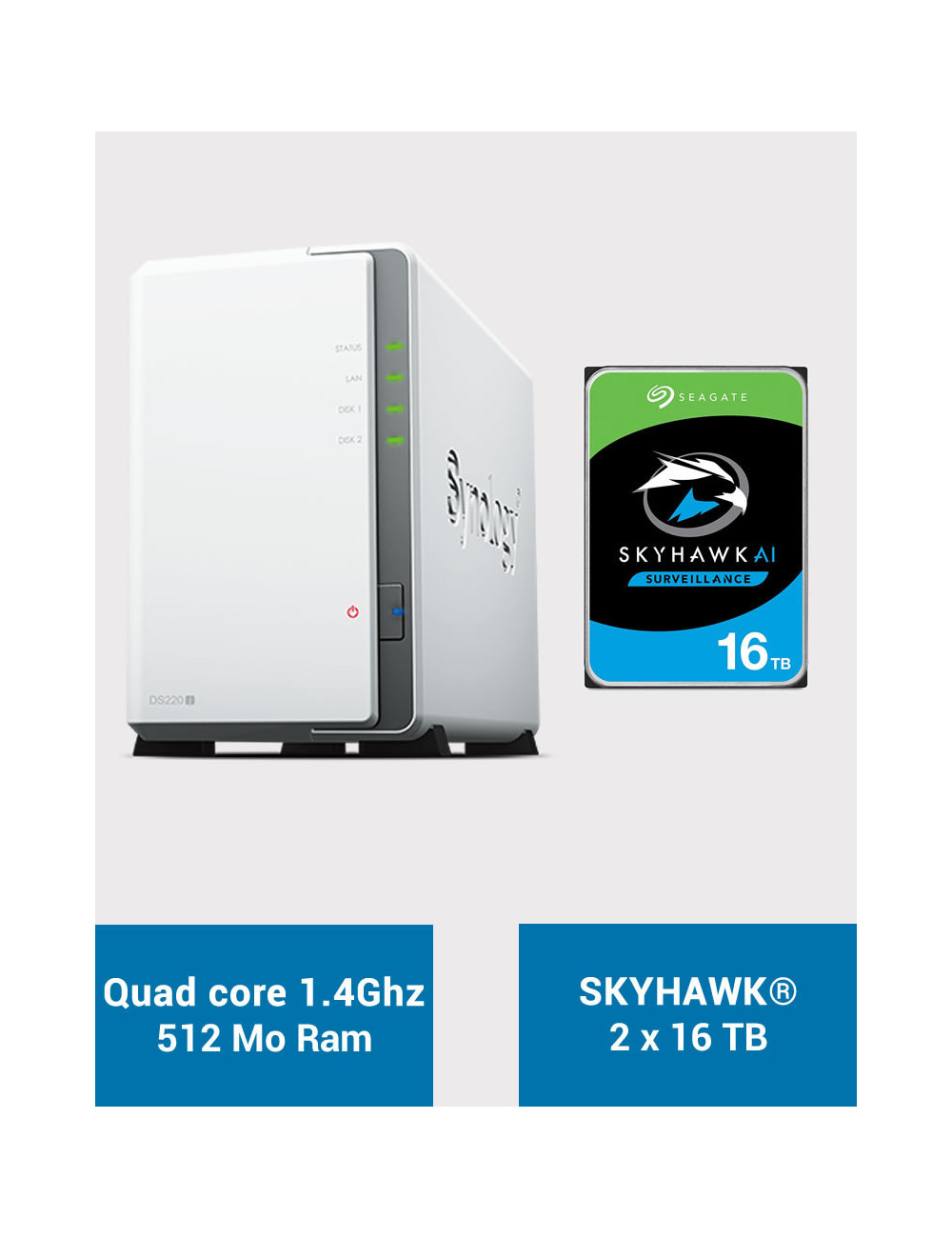 Synology DS220J Serveur NAS SKYHAWK 32To (2x16To)