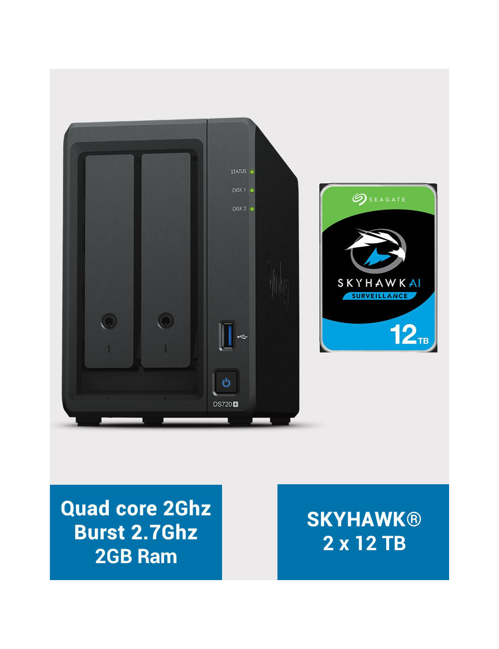 Synology DS720+ 2Go Serveur NAS SKYHAWK 24To (2x12To)