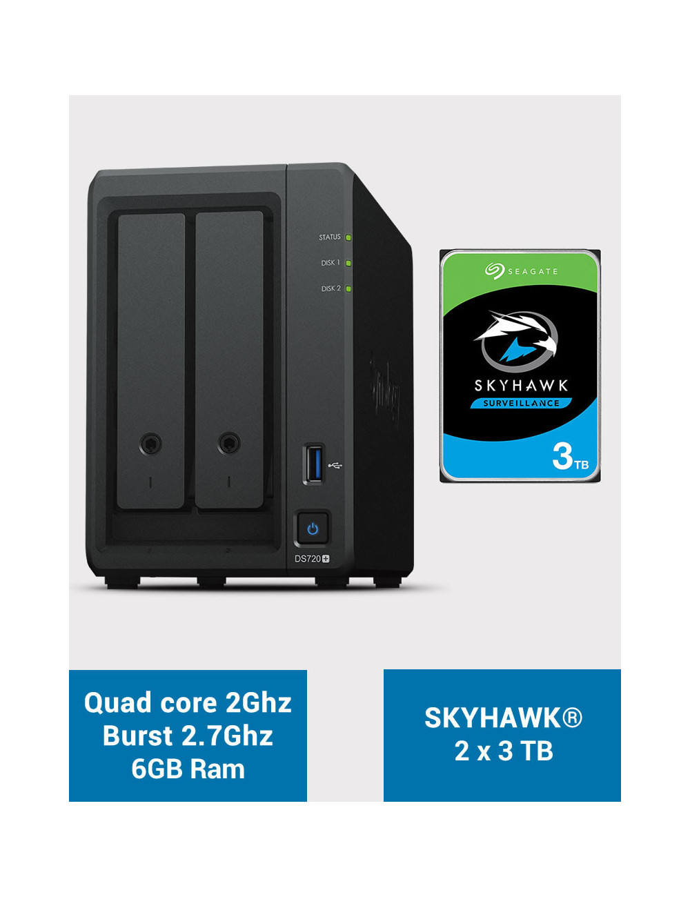 Synology DS720+ 6Go Serveur NAS SKYHAWK 6To (2x3To)