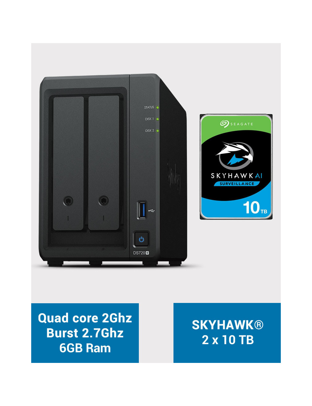 Synology DS720+ 6Go Serveur NAS SKYHAWK 20To (2x10To)