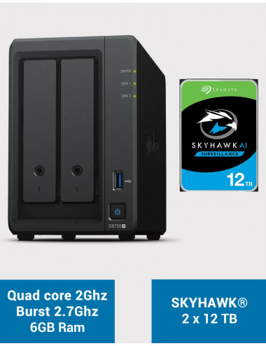 Synology DS720+ 6Go Serveur NAS SKYHAWK 24To (2x12To)