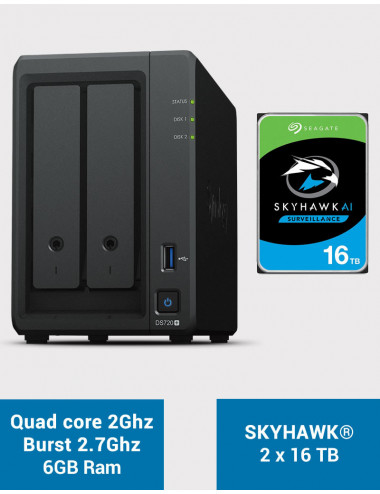 Synology DS720+ 6Go Serveur NAS SKYHAWK 32To (2x16To)
