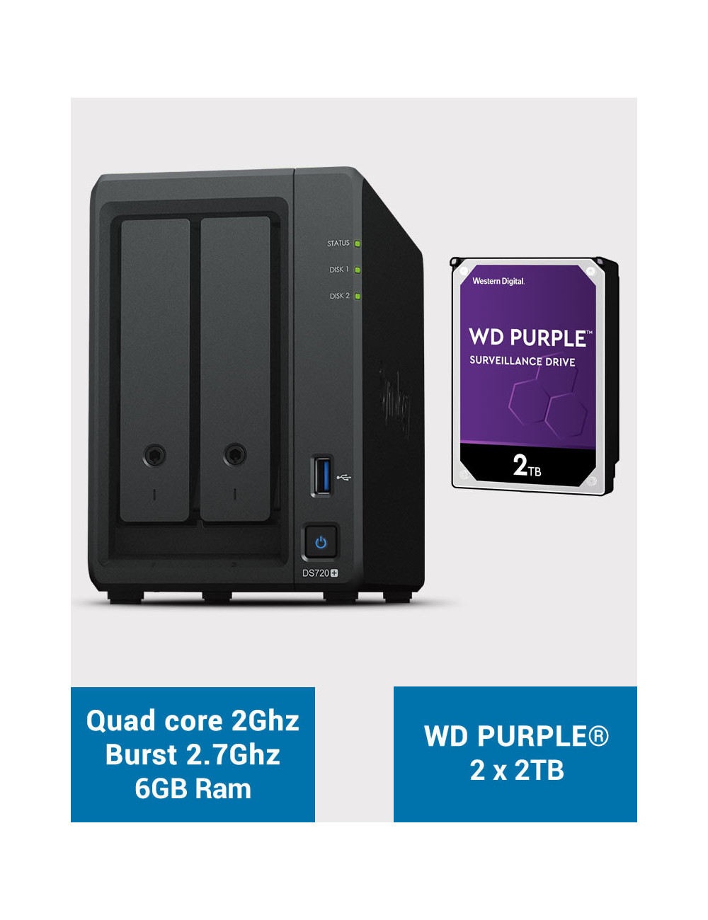 Synology DS720+ 6Go Serveur NAS WD PURPLE 4To (2x2To)