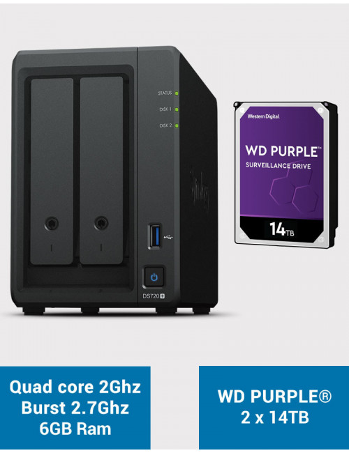 Synology DS720+ 6Go Serveur NAS WD PURPLE 28To (2x14To)