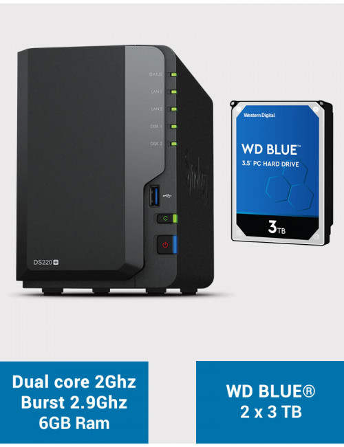 Synology DS220+ 6Go Serveur NAS WD BLUE 6To (2x3To)
