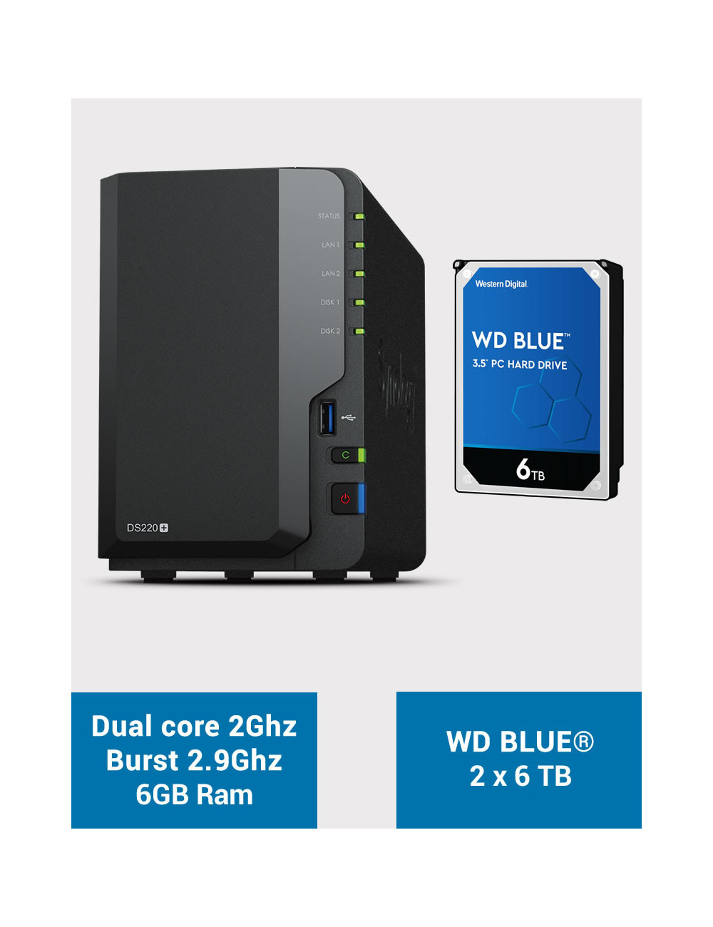 Synology DS220+ 6Go Serveur NAS WD BLUE 12To (2x6To)