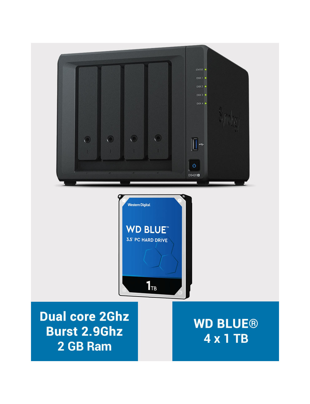 Synology DS420+ 2Go Serveur NAS WD BLUE 4To (4x1To)