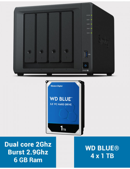 Synology DS420+ 6Go Serveur NAS WD BLUE 4To (4x1To)