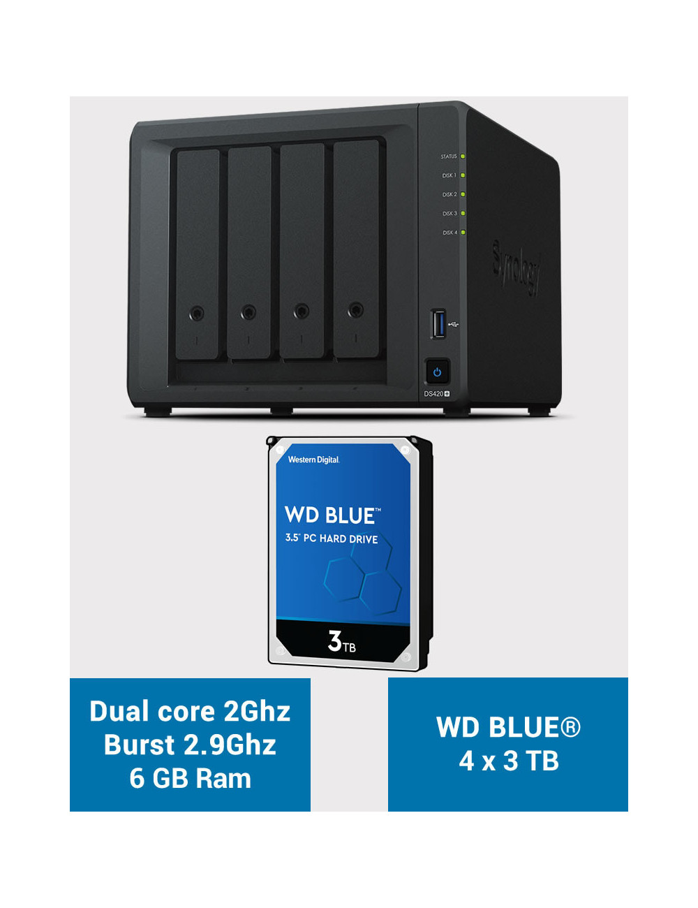 Synology DS420+ 6Go Serveur NAS WD BLUE 12To (4x3To)