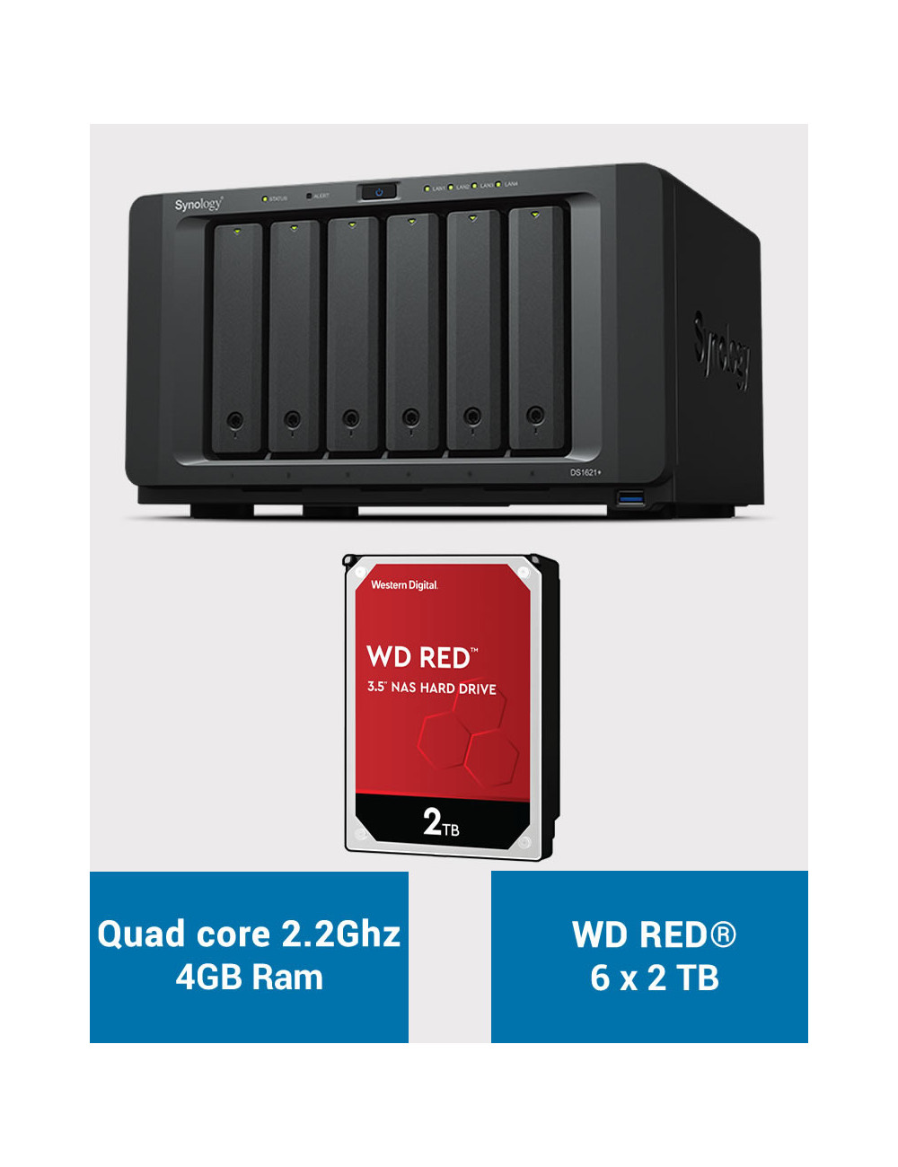 Synology DS1621+ Serveur NAS WD RED 12To (6x2To)