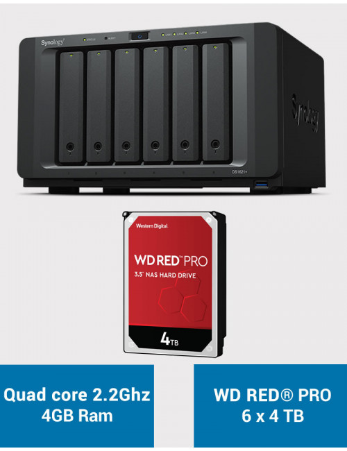 Synology DS1621+ Serveur NAS WD RED PRO 24To (6x4To)