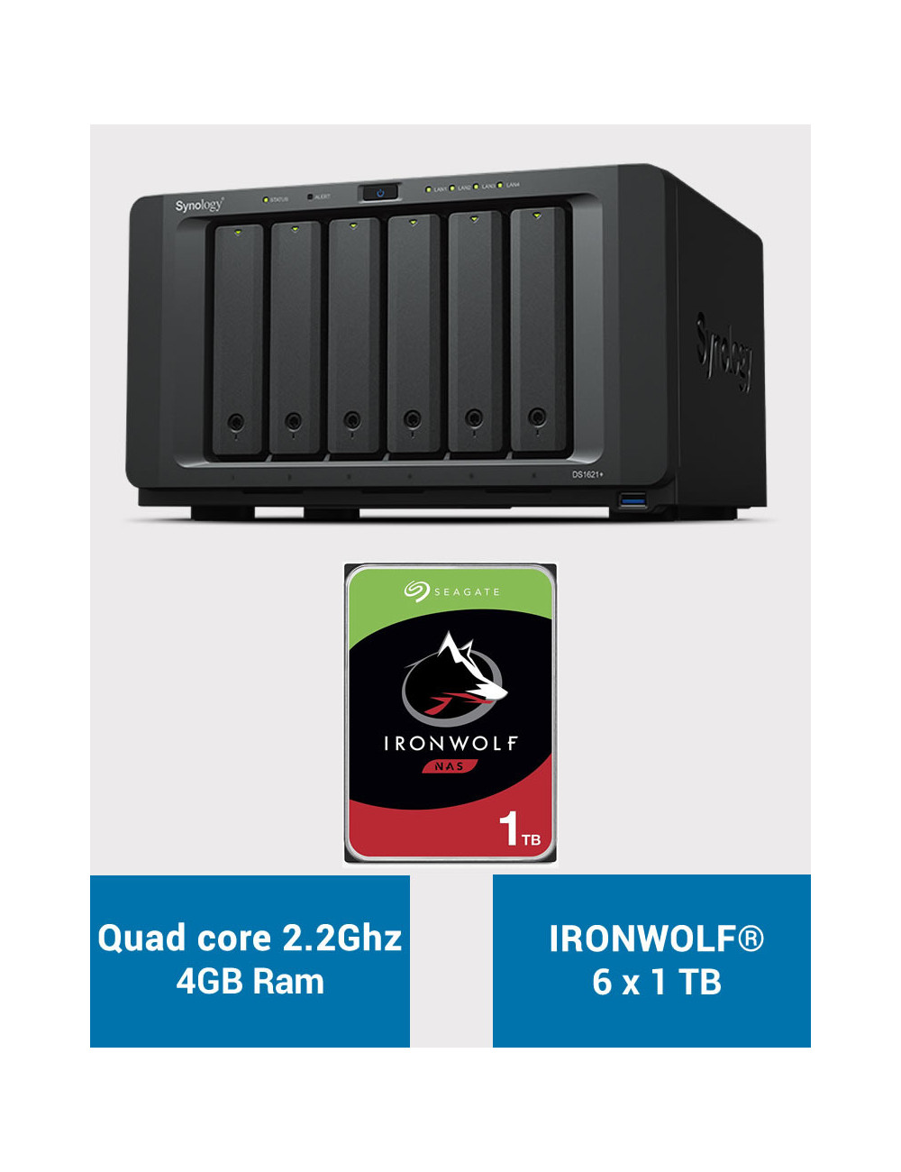 Synology DS1621+ Serveur NAS IRONWOLF 6To (6x1To)