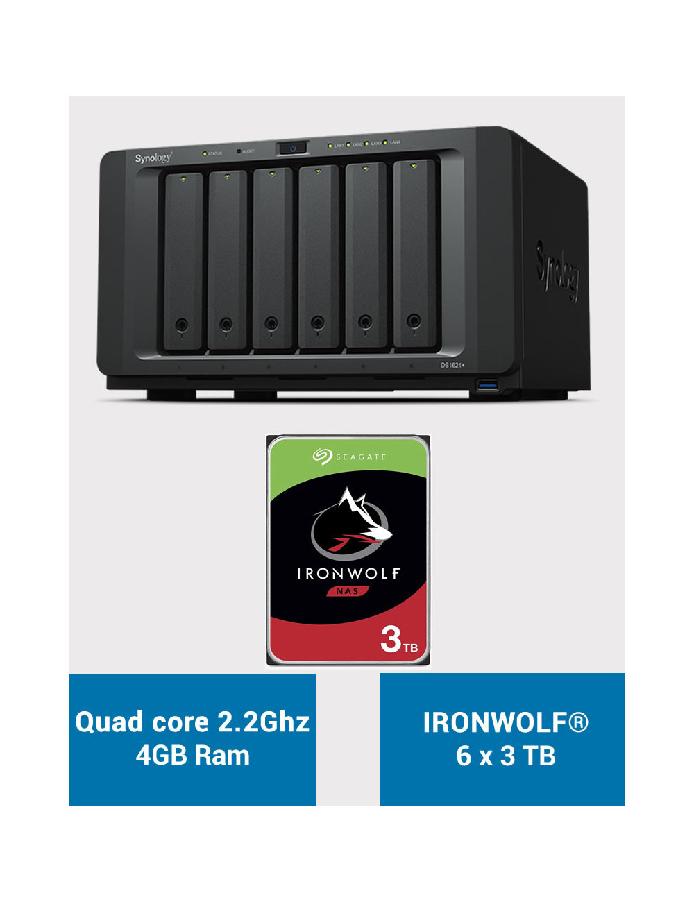 Synology DS1621+ Serveur NAS IRONWOLF 18To (6x3To)
