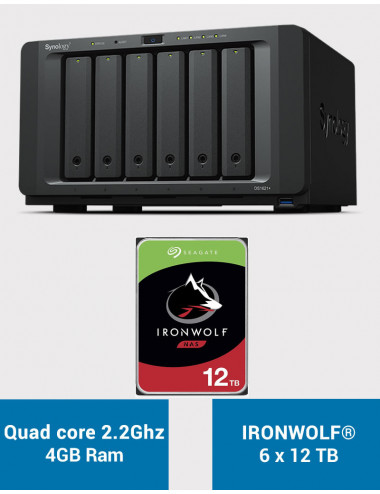 Synology DS1621+ Serveur NAS IRONWOLF 72To (6x12To)