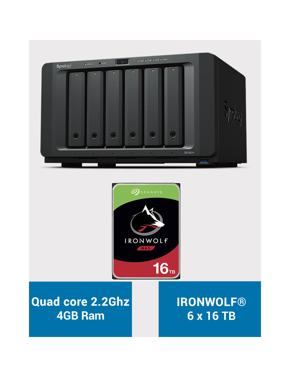 Synology DS1621+ Serveur NAS IRONWOLF 96To (6x16To)