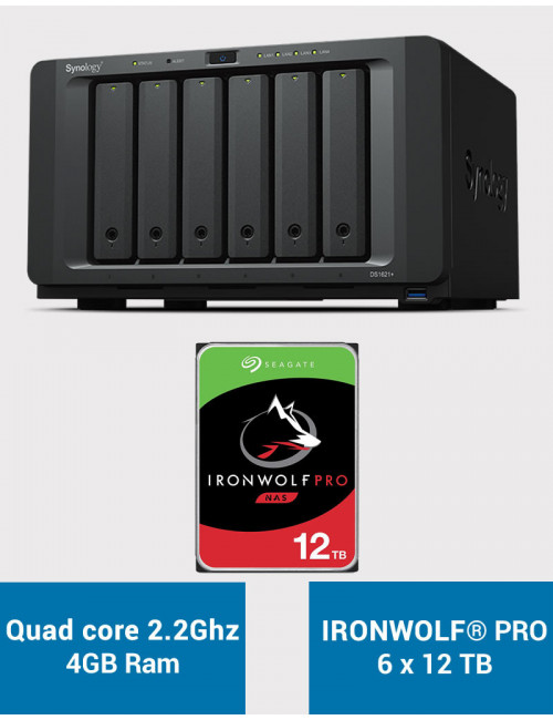 Synology DS1621+ Serveur NAS IRONWOLF PRO 72To (6x12To)