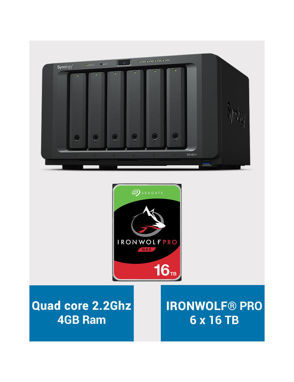 Synology DS1621+ Serveur NAS IRONWOLF PRO 96To (6x16To)