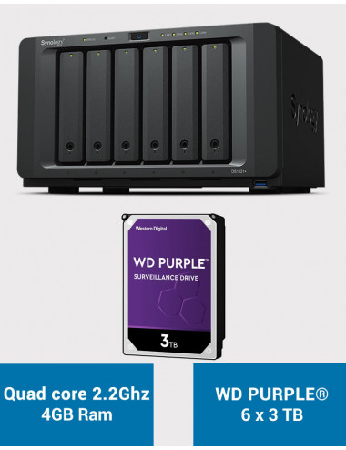 Synology DS1621+ Serveur NAS WD PURPLE 18To (6x3To)