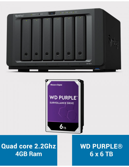 Synology DS1621+ Serveur NAS WD PURPLE 36To (6x6To)