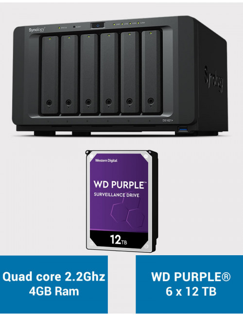 Synology DS1621+ Serveur NAS WD PURPLE 72To (6x12To)