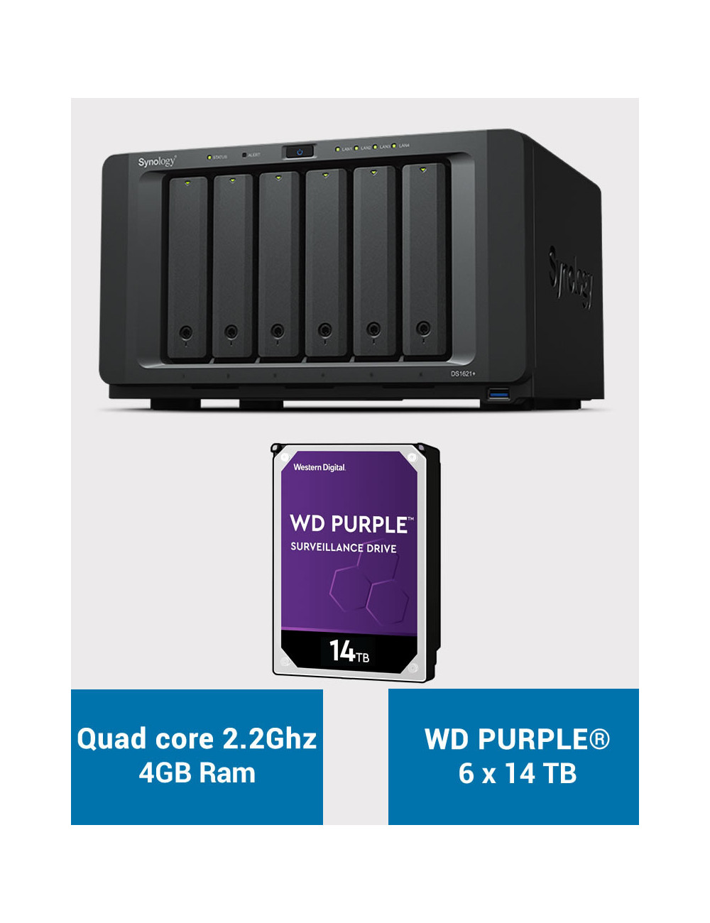 Synology DS1621+ Serveur NAS WD PURPLE 84To (6x14To)