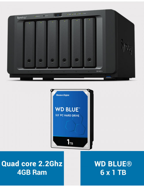 Synology DS1621+ Serveur NAS WD BLUE 6To (6x1To)