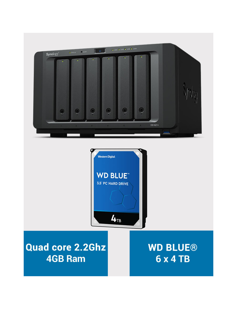 Synology DS1621+ Serveur NAS WD BLUE 24To (6x4To)