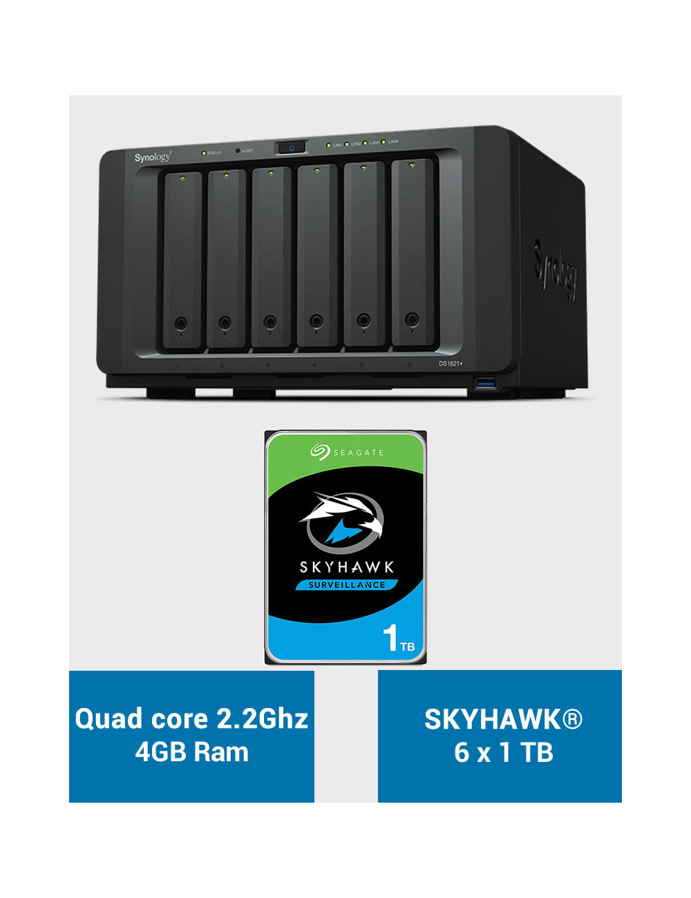 Synology DS1621+ Serveur NAS SKYHAWK 6To (6x1To)