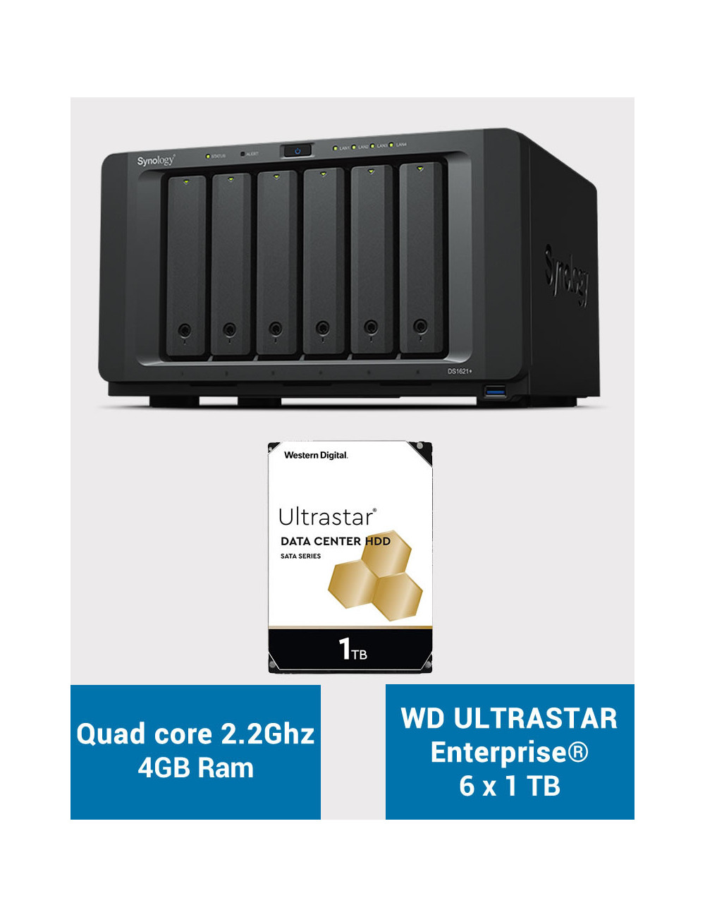 Synology DS1621+ Serveur NAS ULTRASTAR ENTERPRISE 6To (6x1To)