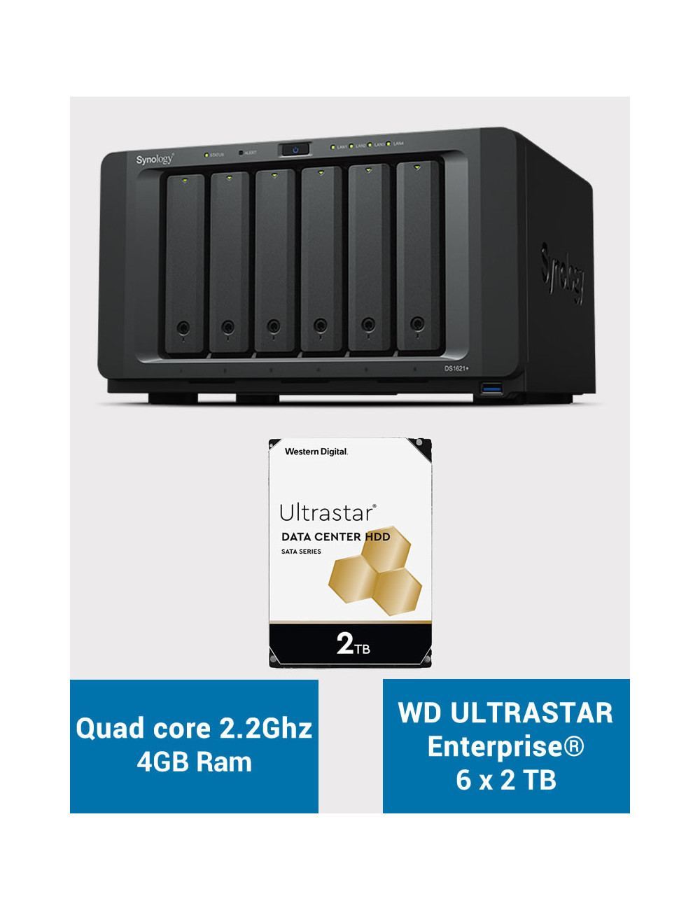 Synology DS1621+ Serveur NAS ULTRASTAR ENTERPRISE 12To (6x2To)