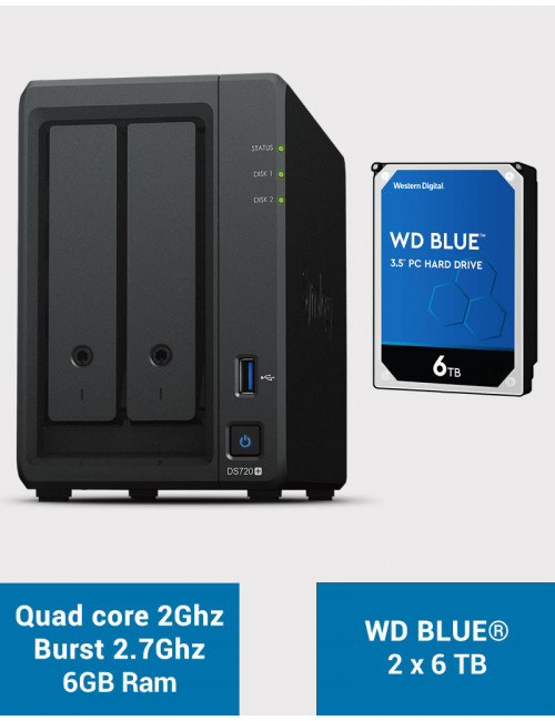 Synology DS720+ 6Go Serveur NAS WD BLUE 12To (2x6To)