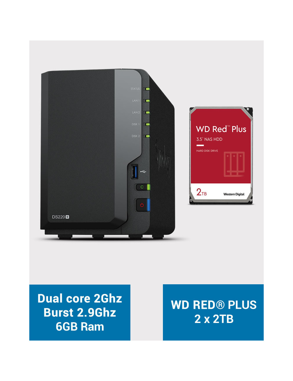 Synology DS220+ 6Go Serveur NAS WD RED PLUS 4To (2x2To)