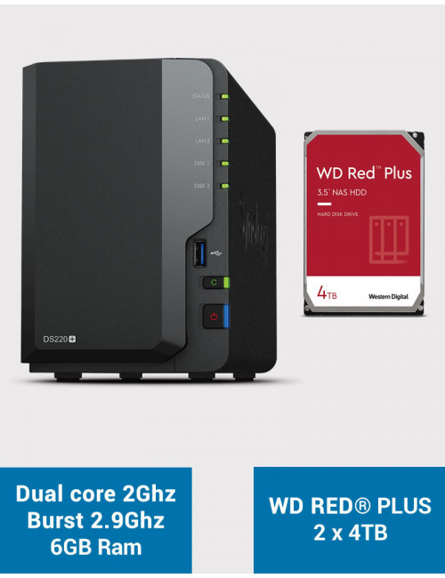 Synology DS220+ 6Go Serveur NAS WD RED PLUS 8To (2x4To)