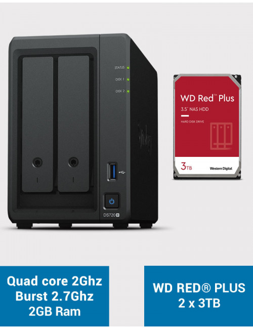 Synology DS720+ 2Go Serveur NAS WD RED PLUS 6To (2x3To)