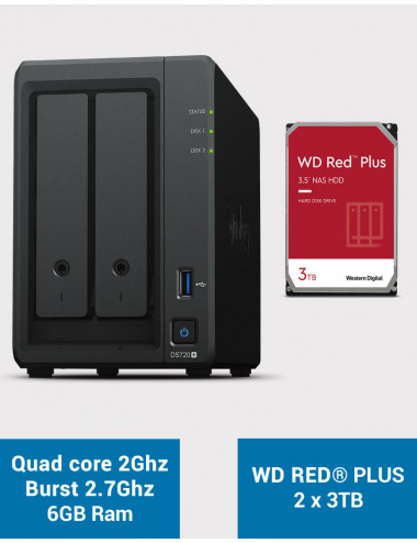 Synology DS720+ 6Go Serveur NAS WD RED PLUS 6To (2x3To)