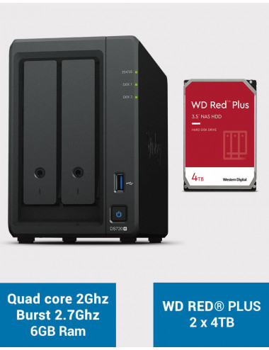 Synology DS720+ 6Go Serveur NAS WD RED PLUS 8To (2x4To)