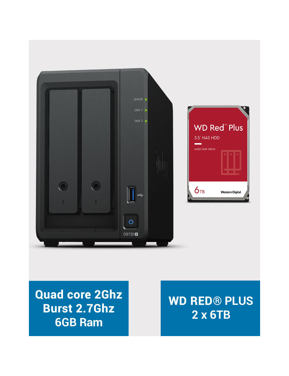 Synology DS720+ 6Go Serveur NAS WD RED PLUS 12To (2x6To)