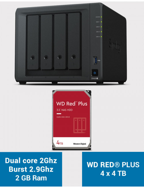Synology DS420+ 2Go Serveur NAS WD RED PLUS 16To (4x4To)