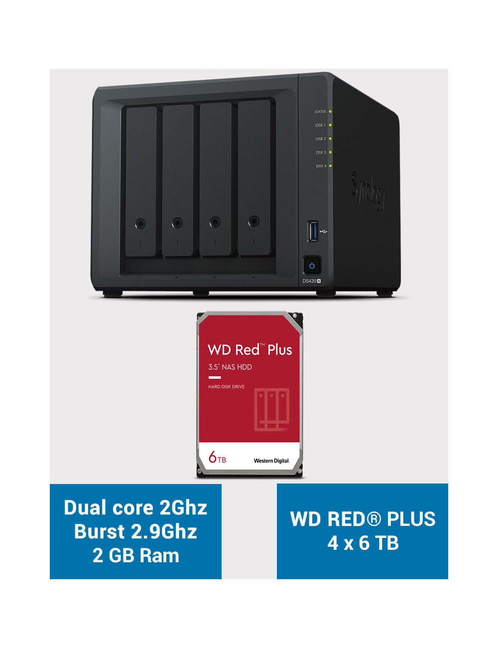 Synology DS420+ 2Go Serveur NAS WD RED PLUS 24To (4x6To)