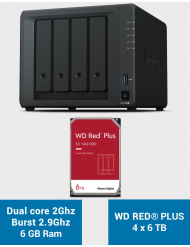 Synology DS420+ 6Go Serveur NAS WD RED PLUS 24To (4x6To)
