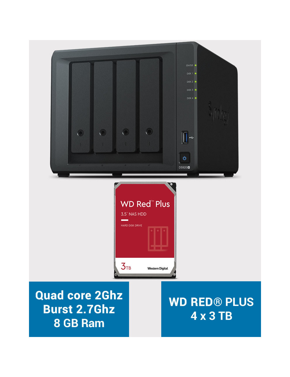 Synology DS920+ 8GB Serveur NAS WD RED PLUS 12To (4x3To)