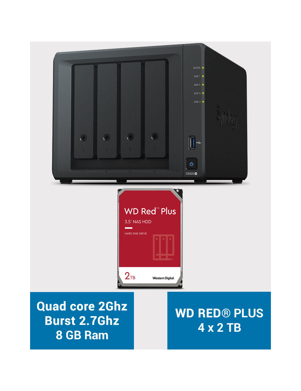 Synology DS920+ 8GB Serveur NAS WD RED PLUS 8To (4x2To)