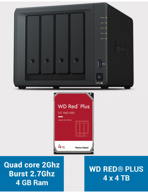 Synology DS920+ 4GB Serveur NAS WD RED PLUS 16To (4x4To)